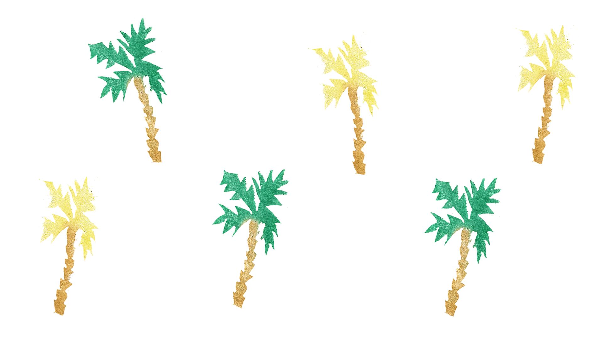 Juli-Wallpaper mit Palmen |Pixi mit Milch