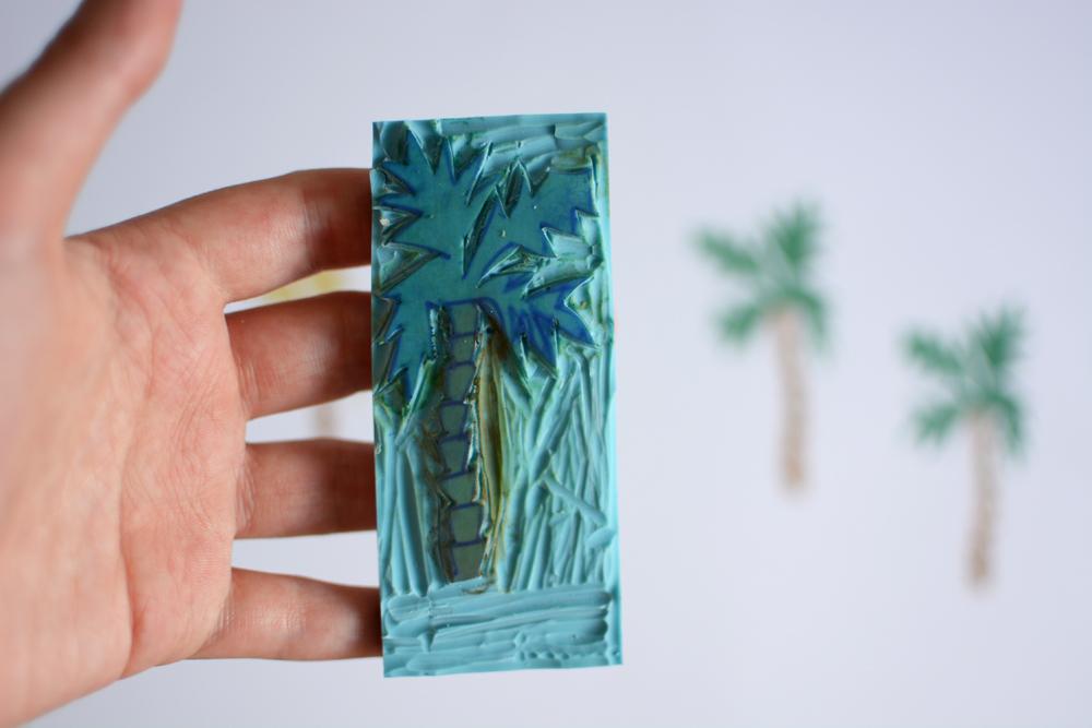 Palmen-Stempel-DIY |Pixi mit Milch