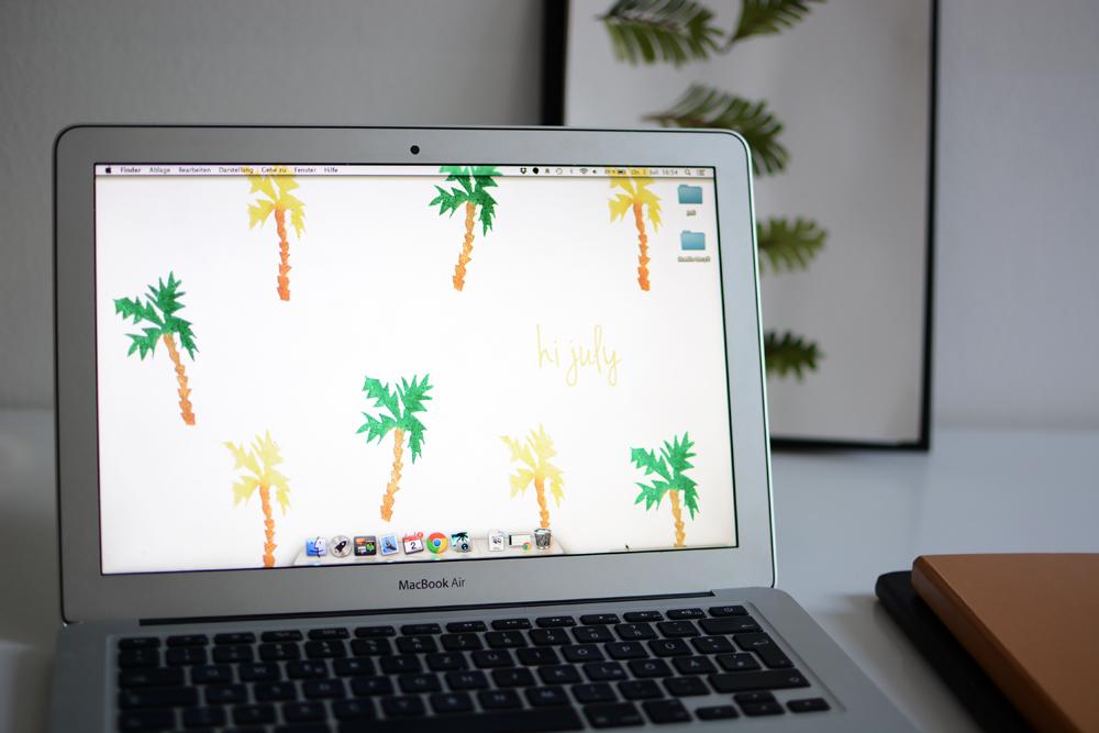 Palmen-Wallpaper-Screen | Pixi mit Milch