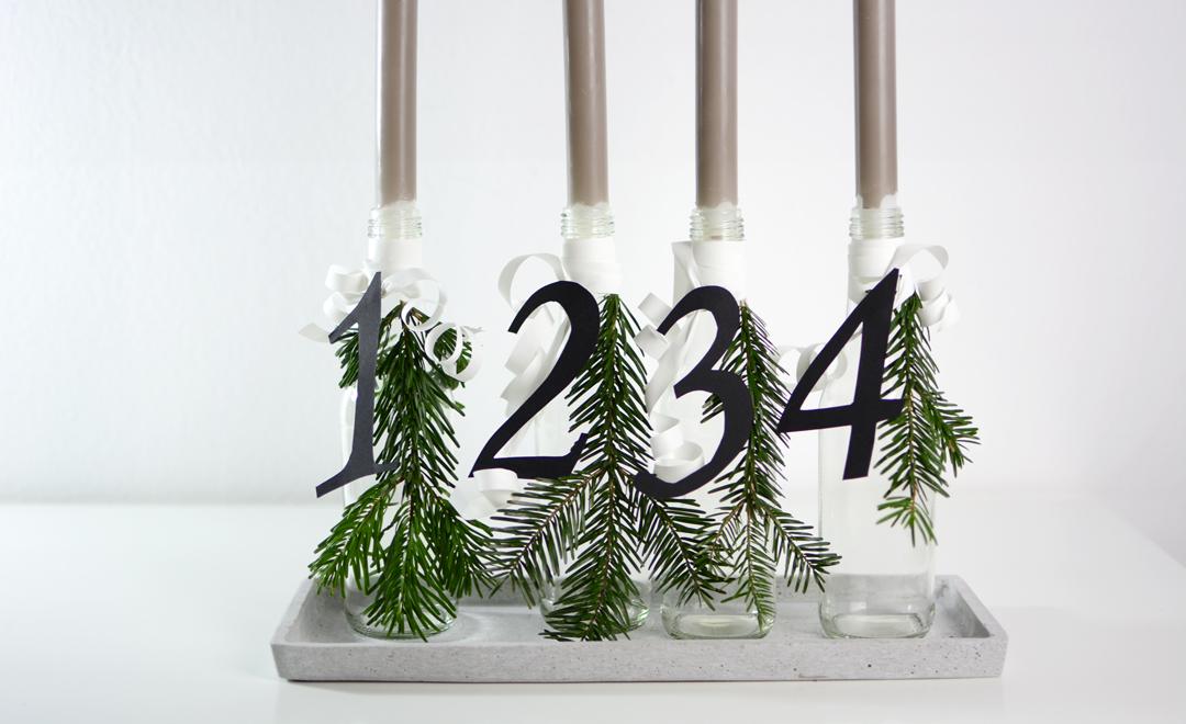 diy adventskranz aus flaschen pixi mit milch. Black Bedroom Furniture Sets. Home Design Ideas