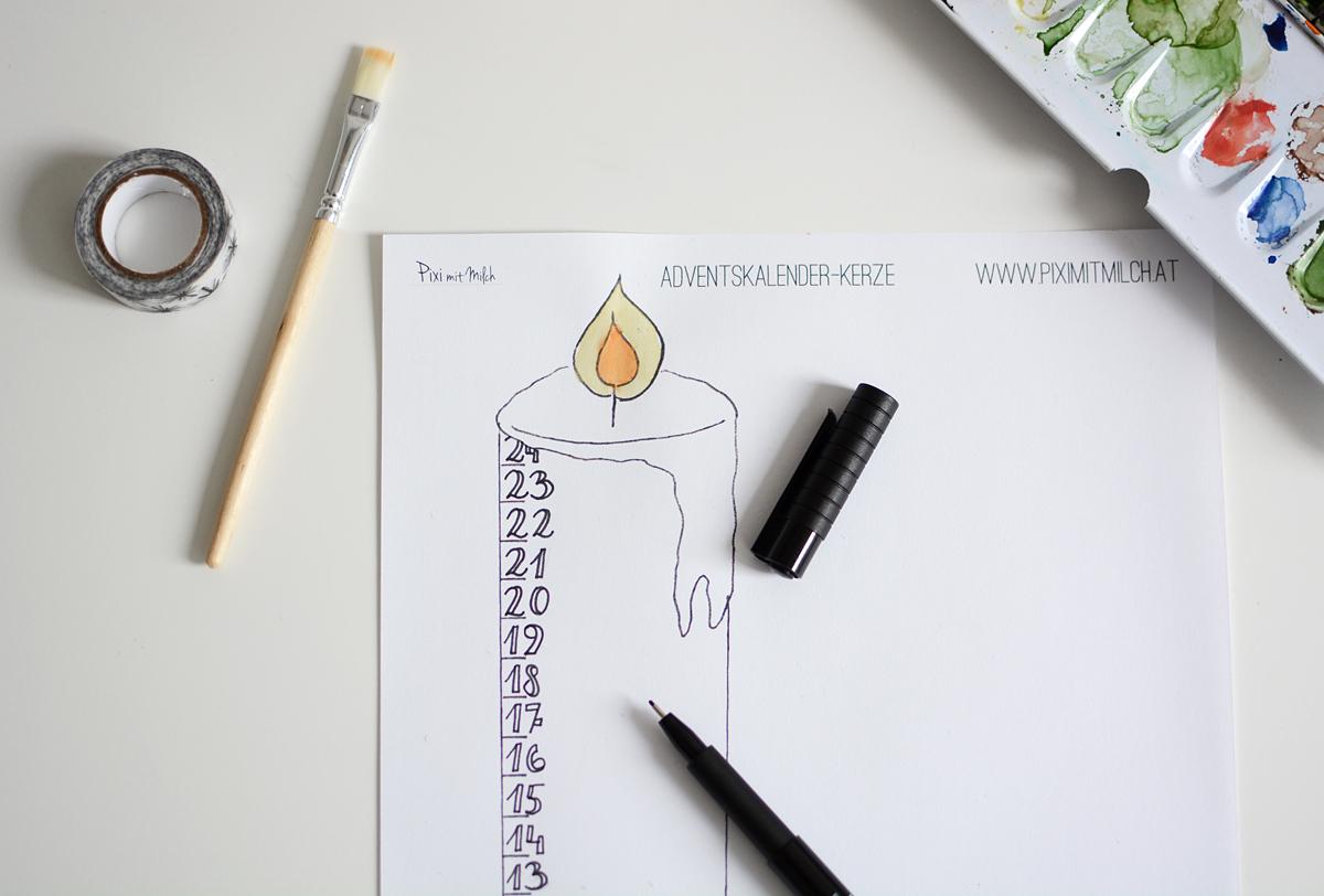 Kerzen-Adventskalender DIY   Pixi mit Milch