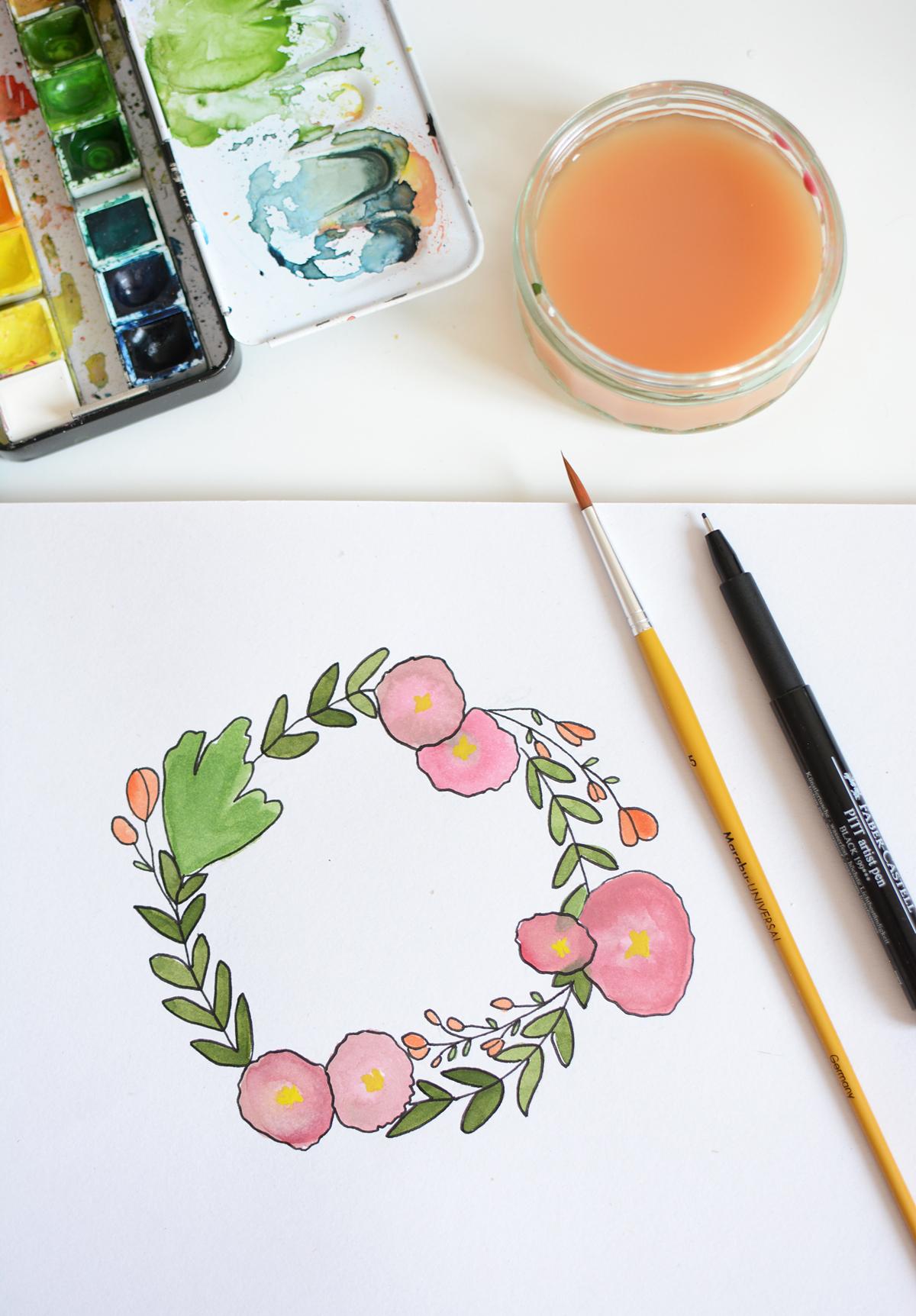Blumenkranz-Wallpaper für April zeichnen | Pixi mit Milch