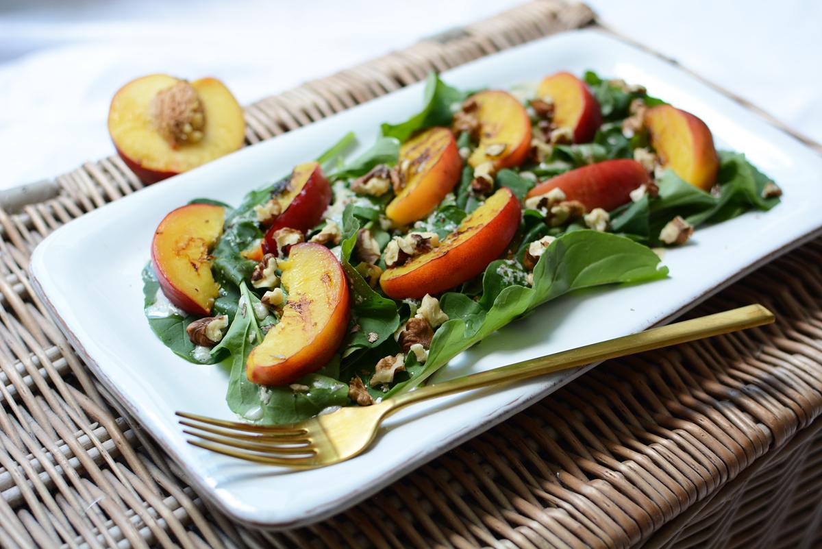 Rucola-Pfirsich-Salat | Pixi mit Milch