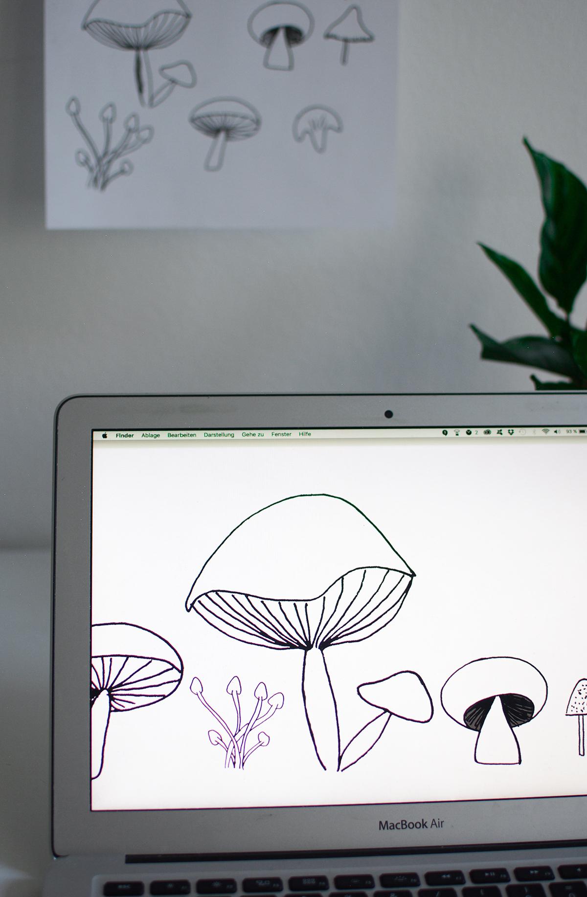 Mushroom-Wallpaper Pilze | Pixi mit Milch