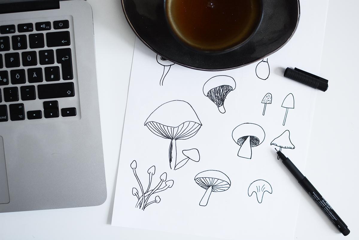 Mushroom-Wallpaper: Zeichnung | Pixi mit Milch