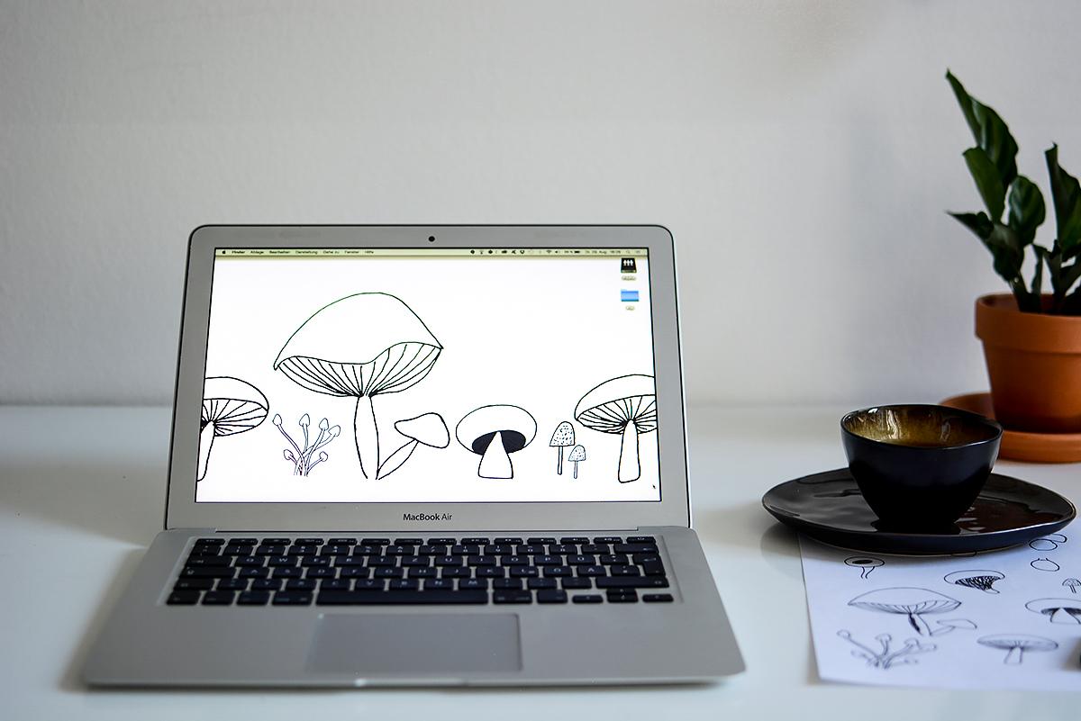 Mushroom-Wallpaper | Pixi mit Milch