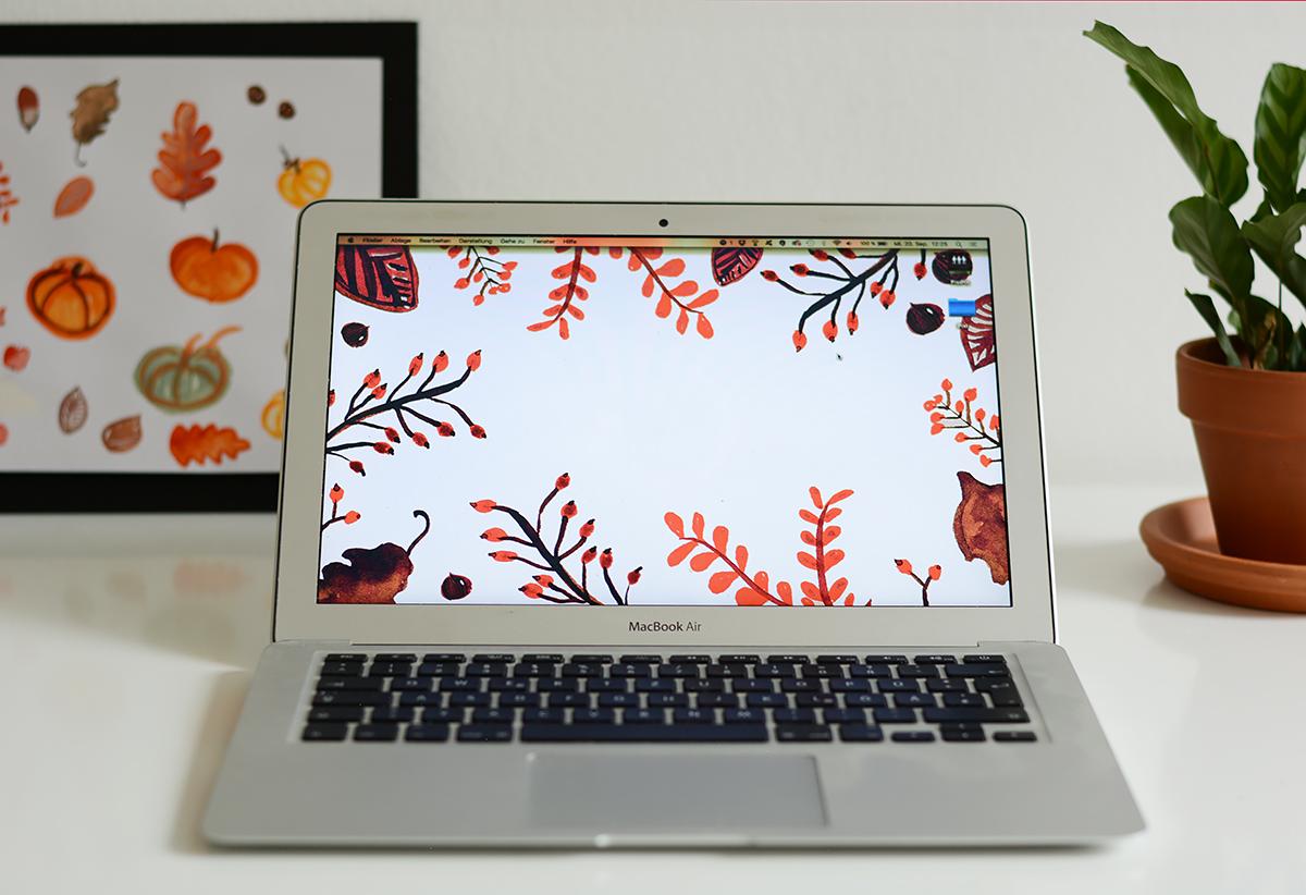 Herbst-Wallpaper: Freebie | Pixi mit Milch