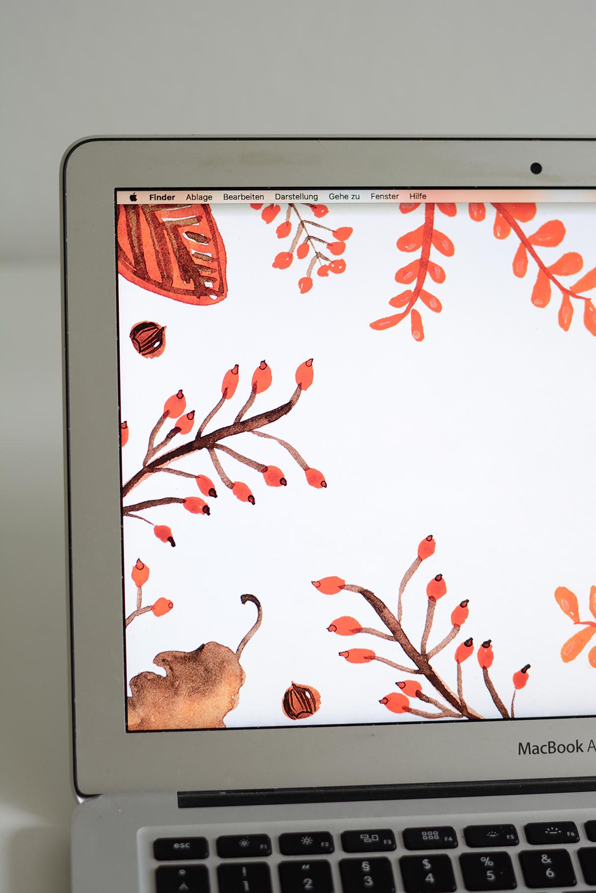 Herbst-Wallpaper | Pixi mit Milch