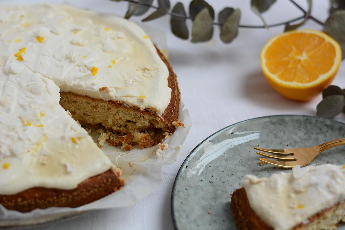 Orangen-Kokos-Kuchen Rezept | Pixi mit Milch