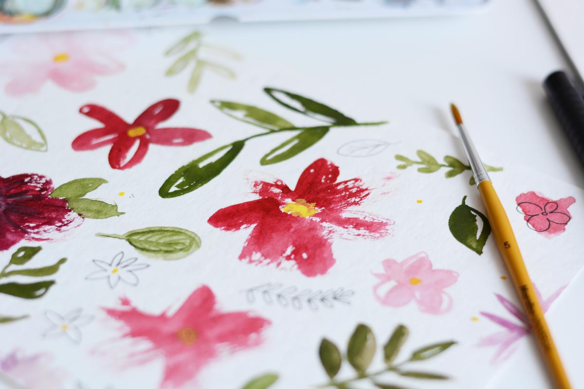 Blumen-Aquarell: Zeichnung | Pixi mit Milch