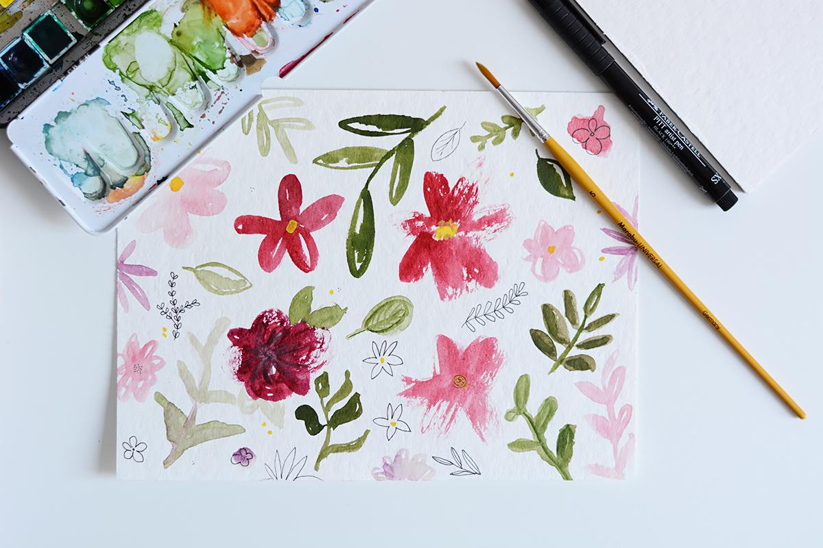 Blumen-Aquarell | Pixi mit Milch