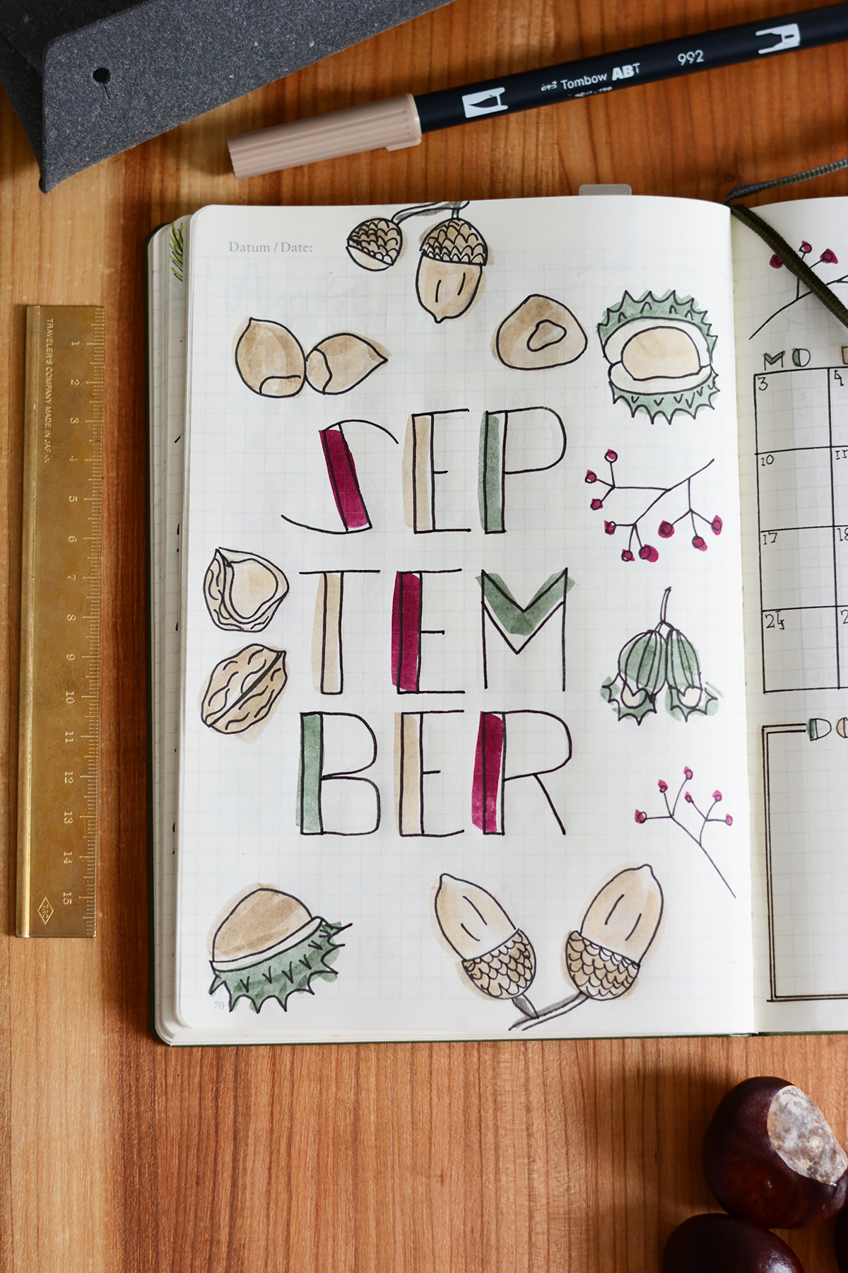Bullet Journal: September-Coverpage | Pixi mit Milch